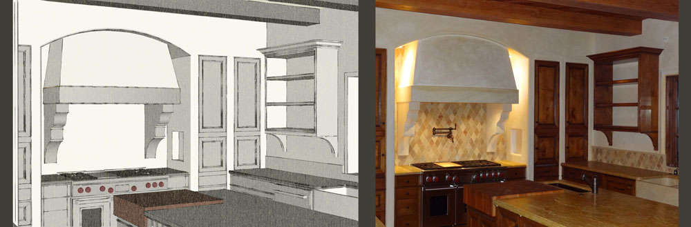 Hope Ranch Sketchup model / finished kitchen stove area